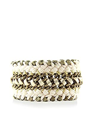 Ettika Something Bold Beige Cord & Brass Bracelet