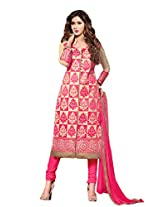 Suchi Fashion Embroidered Pink & Beige Cotton Dress Material