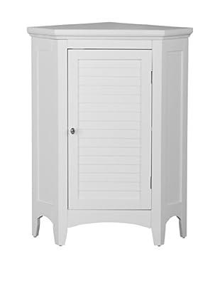 Elegant Home Fashions Slone Corner Floor Cabinet with Shutter Door, White