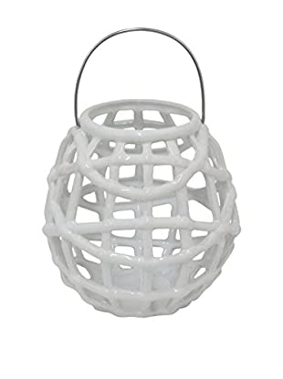 Three Hands Ceramic Lantern, White