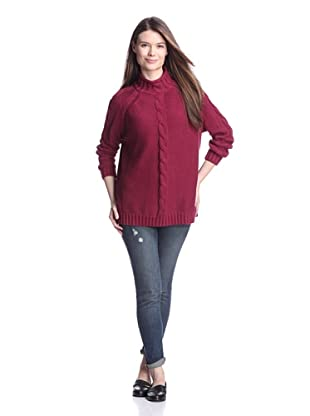 525 America Women's Center Cable Sweater (Sangria)