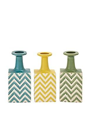 Set of 3 Ceramic Striped Vases, Multi
