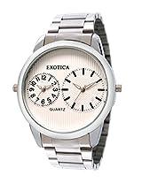 Exotica Analog White Dial Men's Watch (EF-55-Dual-St-W)
