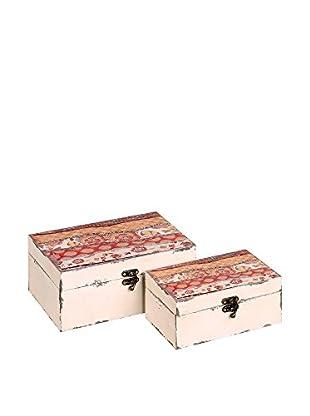 Chateau chic Set Caja de Almacenamiento 2 Uds. Crema