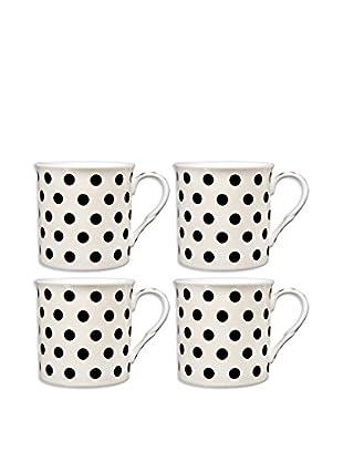 Home Essentials Set of 4 Black & Cream Polka Dots 10-Oz. Mugs
