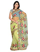 Sehgall Sarees Indian Bollywood Designer Professional Pista Green Net Embroidery Saree
