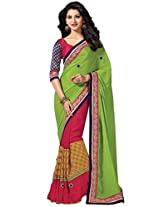 Ethnic Station Green Embroidered Saree