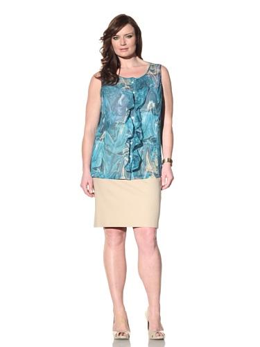 Z from Zenobia Women's Plus Ruffled Placket Sleeveless Blouse (Lagoon)