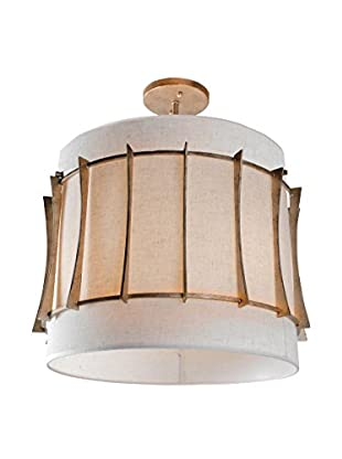 Varaluz Occasion 3-Light Semi-Flush, Zen Gold/Tan Silk