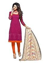 Shree Vardhman Pink Super Net Straight Unstiched Salwar Suit Dress Material