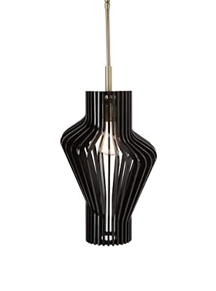 Woodbridge Lighting Canopy Wood Slat Escher Mini-Pendant, Classic Brass