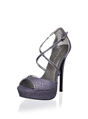Adrienne Maloof Women's Yvonne Glitter Platform Sandal (Pewter)