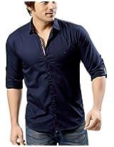 Redox Men's Slim Fit Cotton Shirt [9536-2-03_Navy Blue_XL]