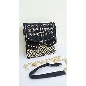 Shopping World Denim Square Sling Bag - Black