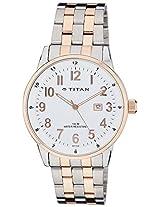 Titan White Dial Analog Watch For Men - 9441KM02J