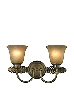 Artistic Lighting Ventura 2-Light LED Bath Bar, Antique Brass
