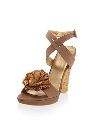 Stuart Weitzman Women's Belflor Wedge Sandal (Tan NuBuck)