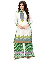 Indiankala4u Women Cotton Embroidered Dress Material , Pristine White