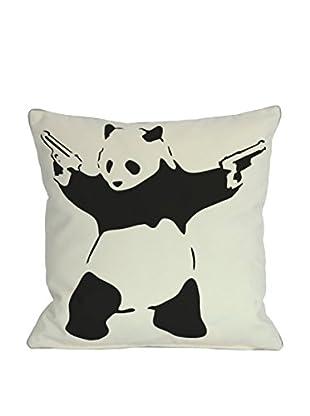 One Bella Casa Lethal Panda Pillow, White/Black