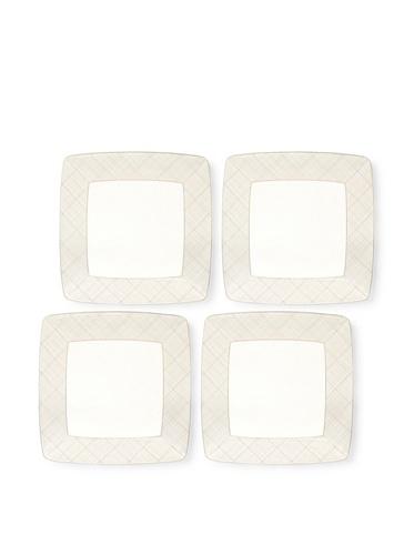 Noritake Everyday Elegance Set of 4 Veneto Small Square Plates (White/Taupe)