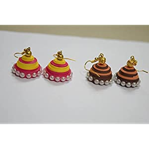 Quillings by SSE - Combo Of 2 Colourful Jumka Earring