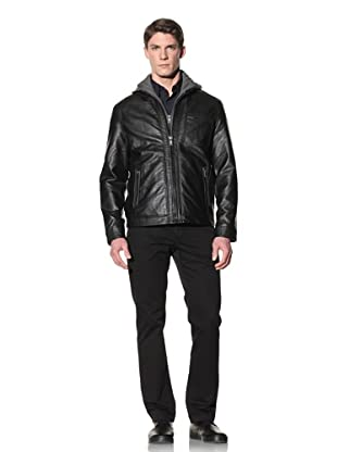Perry Ellis Men's Moto Jacket with Removable Hood (Dark Chocolate)