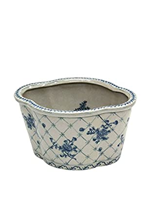 Winward Rose Trellis Planter, Blue/White