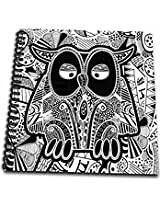 3dRose db_201660_1 Doodle Owl, Black & White Drawing Book, 8 by 8