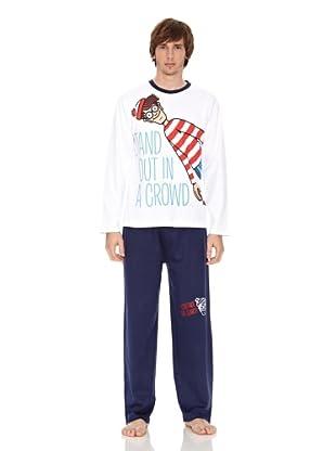 Where is Wally? Pijama (Blanco / Marino)