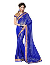 Sourbh Saree Glittering Royal Blue Lace Work Faux Georgette Saree for Women(with color option),Rakhi Return Gift for Sister,Raksha Bandhan