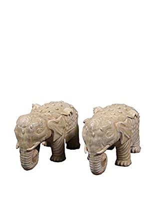 Green Glazed Elephants Pair