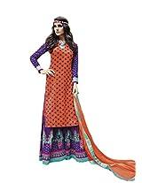 Orange & Purple Colour Faux Cotton Party Wear Paisley Print Plazo Suit (Jinaam) 9075A