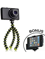 JOBY Gorillapod Flexible Tripod (Black/Lime Green) and a Bonus Universal Smartphone Tripod Mount Adapter works for iPhone 3g, 4, 4S, 5, HTC One, Galaxy S2, S3, S4, Blackberry Z10,Q10, Motorola Droid and Most Smartphones