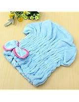 Magic Quick Dry Bath Hair Drying Towel Turban Head Wrap Hat Makeup Cosmetics Cap (Blue)