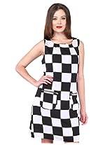 Purys Women's Shift Dress (E-150651SP-3077_White Black_L)