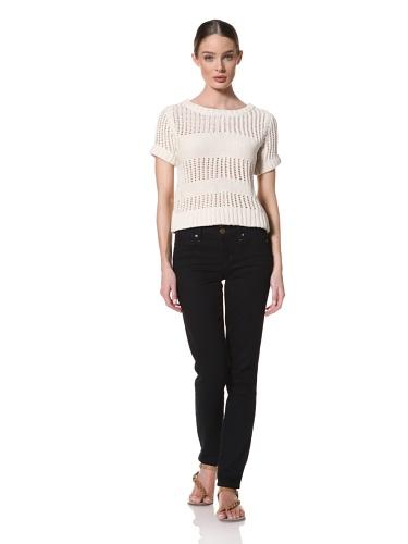 Whit Women's Cotton Knit Crochet Sweater Top (White)