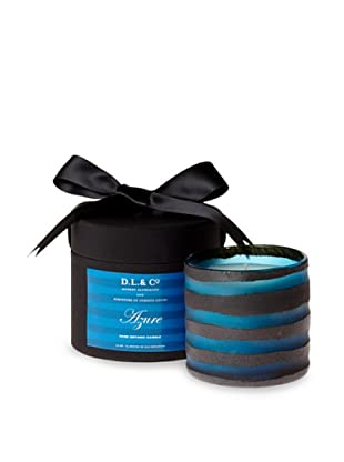 D.L. & Co. Rayure Collection Hand-Blown Thick-Stripe Candle, Azure, 10-Oz.