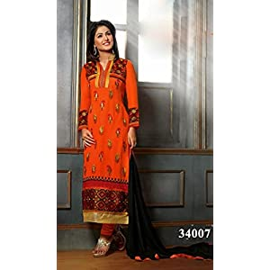 Semi Stitched Orange,Black Latest Embroidered Pakistani Salwar Kameez Modelled By Heena Khan