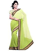 Utsav Fashion Women's Green Faux Georgette Saree with Blouse