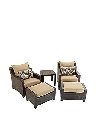 RST Brands Deco 5-Piece Club Chair & Ottoman Set, Beige