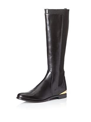 Sergio Rossi Women's Flat Riding Boot With Brass (Nero)