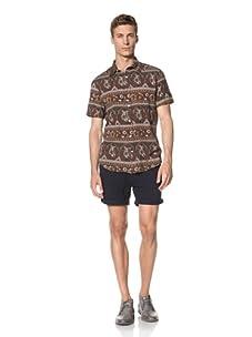 Vanishing Elephant Men's Oversized Short Sleeve Shirt (Multi-Colour Pattern)
