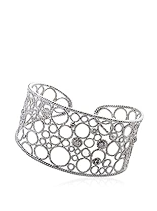 Riccova Retro Bubble Wide Bangle Bracelet with CZs, Silver