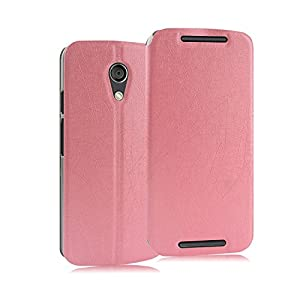 Heartly Premium Luxury PU Leather Back Case Cover For Moto G 2nd Gen XT1068 (Pink)