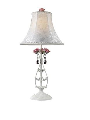 Artistic Lighting 1-Light Porcelain Roses Table Lamp, Antique White