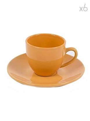 Kaleidos Set 6 Tazze Caffè con Piattino (Arancio)