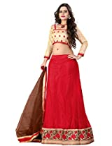 Jiya Presents Women's Multi Embroidered Stitched Lahenga With Unstitched Blouse Piece.(Red)