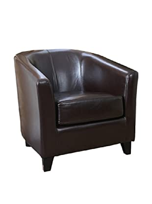 Abbyson Living Kara Leather Armchair, Dark Truffle