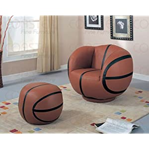 Coaster Kid's Swivel Chair and Ottoman Set, Basketball Design, 2-Pieces
