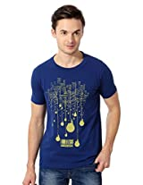 Peter England Dark Blue Slim Fit Graphic Printed T Shirt